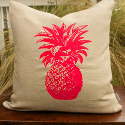 Fuchsia Pink Pineapple on Natural Linen Pillow by Recover Me Design - Here's a fun way to makeover the sofa: a bright pink pineapple screen-printed on subtle linen. This 18-inch pillow cover is a bold mix of modern and classic styles.