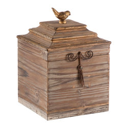 Kathy Kuo Home - Pair Voler Natural Rustic Tall Wood Box with Gold Accent Bird - Natural wood with a hint of gold accented with an iron tassel and a gold bird perched on top.