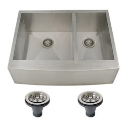 Ticor - Ticor 4409BG-DEL 30-inch 16-gauge Stainless Steel Curved Front Double Bowl Under - This sleek kitchen sink is made out of 16-gauge stainless steel,so it should have no problem lasting for years to come. Featuring sound dampening materials,this sink will be a true benefit to your home.