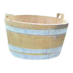"Master Garden Products - Oak Wood Bucket Planter From Reclaimed Used Wine Barrel, 16""H x 26""W - Make your garden your own with our oak wood buckets and washtubs which are handcrafted with premium used French oak wood wine barrels. Our oak buckets demonstrates the beauty of hundreds of years old straight grain clear oak lumber, which are recycled from these wonderful barrels. Heavy duty galvanized straps serves as a relic to this century old traditional oak bucket used in early human history. Use these bucket tubs as planters in the garden, as indoor decoration, storage or order one of the water tight units for your water garden. Lacquer finished for extra protection."