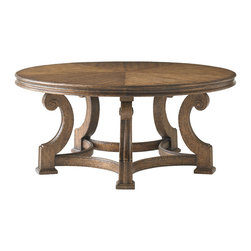 Stanley Furniture - La Palma Living Room Round Cocktail - Caramel Finish - The top of the Round Cocktail Table in Caramel is buttressed by arched legs crowned with volutes. Pie-shaped wedge veneer. Made to order in America.