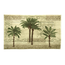 Bacova - Bacova Citrus Palm Bath Rug - 50470 - Shop for Home Furnishings and Accents from Hayneedle.com! Made from durable 100% nylon the Bacova Citrus Palm Bath Rug features a relaxing print of tropical trees against a decorative background of contemporary earth tones. This rug is machine washable for easy cleaning and the print is directly heat transferred to the nylon for better wear in high-use bathrooms.About Bacova The Bacova Guild has become one of the largest producers of printed accent rugs floor mats and bathroom ensembles offering more than 30 distinct product lines with around 3 000 unique items. Located in Covington Virginia Bacova is a wholly owned subsidiary of Ronile Incorporated. They continue to serve a diverse customer base by setting the standard with fresh and innovative fashions exhibited in their annual offerings of hundreds of new designs. With their reach stretching well beyond the borders of the United States Bacova has a worldly outlook to meet the needs of an ever-changing marketplace. In spite of their rapid growth over the last decade Bacova remains committed to a standard of style and quality that can't be matched.