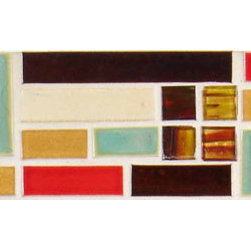 """Glass Tile Oasis - Painted Desert Border 4"""" x 18"""" Cream/Beige Tapestry Handmade Tile Glossy Ceramic - Shade and size variations are inherent characteristics in all handcrafted ceramic tile. Orders ship within 2-3 weeks."""
