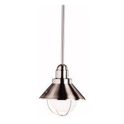 Kichler 1-Light Outdoor Fixture - Brushed Nickel - One Light Outdoor Fixture This demure mini-pendant is the smallest fixture in the family spaces collection. Its features include an aluminum and stainless steel construction, brushed nickel finish, and is u. L. Listed for damp locations. Its 1-light construction uses a 100-watt bulb.