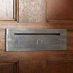 "Stella Mail Slot, Vintage Brass finish - Special front-door accessories are an easy update that create a warm welcome. Our Stella mail Slot features a hinged flap embossed with the word Letters. 12.5"" wide x 3"" high Hinged lid for easy mail slot access. Made of brass, stainless steel, and zinc with an antique silver or vintage brass finish. Sealed with lacquer. Internet only."