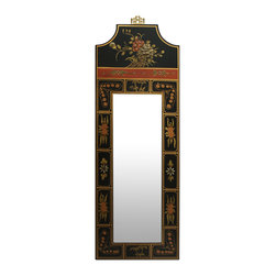 China Furniture and Arts - Hand Painted Tibetan Design Mirror - To show artistic quality in presenting commonplace objects such as mirror, artists often leave larger space at the head of the frame for beautiful pictures. Uniquely shaped, laced with sanguine red, the flowers are painted against black background, a fine example of Tibetan design style. Mounting ware included.