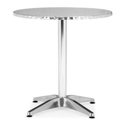 ZUO - Christabel Round Table - Perfect for sitting on a busy street corner, drinking a cup of coffee and updating the blog. The polished aluminum Christabel series is the ultimate cafe table. Sold separately.