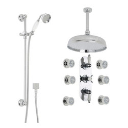 """Hudson Reed - Beaumont Thermostatic Shower System Set With 12"""" Apron Head, Handset & 6 Sprays - Enjoy a luxurious showering experience with the Beaumont shower system from Hudson Reed, which comes complete with the triple thermostatic shower valve, slide rail kit, six body jets and the 12"""" apron shower head with ceiling mounted arm."""