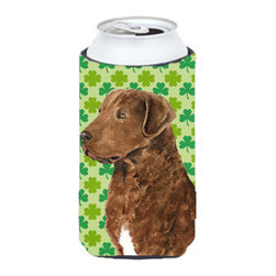 Caroline's Treasures - Chesapeake Bay Retriever St. Patrick's Day Shamrock Tall Boy Koozie Hugger - Chesapeake Bay Retriever St. Patrick's Day Shamrock Portrait Tall Boy Koozie Hugger Fits 22 oz. to 24 oz. cans or pint bottles. Great collapsible koozie for Energy Drinks or large Iced Tea beverages. Great to keep track of your beverage and add a bit of flair to a gathering. Match with one of the insulated coolers or coasters for a nice gift pack. Wash the hugger in your dishwasher or clothes washer. Design will not come off.