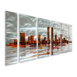 Pure Art - Cityscape on Silver Hand-Painted Metal Wall Hanging Set of 6 - What a spectacular view! Enjoy the view of a magnificent cityscape in the distance when you hang this fabulous metal wall art in your contemporary home! The Cityscape on Silver Hand Painted Metal Wall Hanging Set of six panels features the view across silvery waters of a bustling cityscape with skyscrapers towering high into a silver sky.  This is a perfect metal wall art grouping for the home or the office, and is amply sized to make a big visual impact at over five feet wide and two feet tallMade with top grade aluminum material and handcrafted with the use of special colors, it is a very appealing piece that sticks out with its genuine glow. Easy to hang and clean.