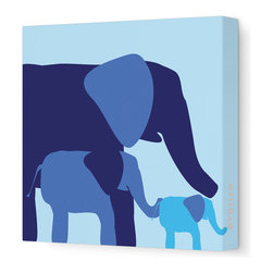 "Avalisa - Animal - Elephants Stretched Wall Art, Blue, 28"" x 28"" - Avalisa Children's Art creates canvas wall art that is modern in style and simple in design."