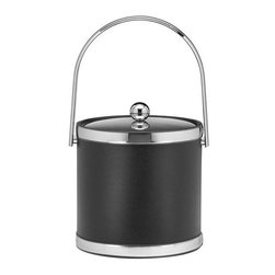 Kraftware - Sophisticates 3-qt. Ice Bucket in Black w Metal Cover - Features track handle and brushed chrome bands. Classic black leatherette elegance. Made in USA. 9 in. Dia. x 9 in. H (3 lbs.)Always as appropriate as a formal Tuxedo at a reception.