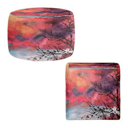 DiaNoche Designs - Ottoman Foot Stool by Anne Gifford - Red Clouds With Twig Tree - Lightweight, artistic, bean bag style Ottomans. You now have a unique place to rest your legs or tush after a long day, on this firm, artistic furtniture!  Artist print on all sides. Dye Sublimation printing adheres the ink to the material for long life and durability.  Machine Washable on cold.  Product may vary slightly from image.