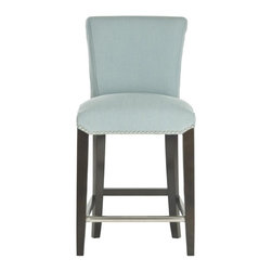 Safavieh - Dante Counterstool - The clean lines of the Dante counter stool complement any home from traditional to contemporary. With a birch wood frame in an espresso finish, Dante is upholstered in sky blue fabric with silver nail heads detailing its seat and gently curved back.