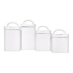 "Home Essentials - White Ceramic Square Wavy Canister Set - Storage becomes an essential part of your home decor with our charming and attractive kitchen canisters! Artfully designed of glossy white ceramic, these wonderful canisters are ideal for storage of kitchen staples and will spice up any kitchen or living room with culinary style. Both functional and beautiful, they are a joy for daily use and a treasure to pass on through generations! Our ever so practical canisters are different sized to add a touch of fun and convenience to home. * Set of 4 * Made of ceramic material * Gift boxed Dimensions are as follows: - Small: H: 4.7"" D: 4.45"" - Medium: H: 5.7"" D: 4.45"" - Large: H: 7.6"" D: 4.45"" - Extra Large: H: 7.6"" D: 4.45"""