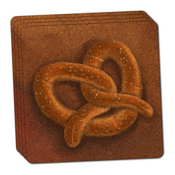 "Made on Terra - German Soft Pretzel Thin Cork Coaster Set of 4 - You're just cleaning up after your epic party when you realize it... something's different. Unlike all those other times, you're not mopping up cup condensation from your counters and tables. This time, everyone used a coaster. Everyone. Maybe it's because you handed out a coaster with every glass. No. You've tried that before. No, this time it's because of the actual coasters. You found the cutest Made On Terra printed cork coasters. You love that everyone commented on how unique they were,  from the light-weight, thin cork material to the printing that creates a cool and subtle effect. Plus, they're really absorbent, but dry quickly. And they're made from an eco-friendly, sustainable resource, so that makes you feel pretty great, too. Choose from Made on Terra's many fabulous cork coasters. Measures 4"" x 4"" x 1/8"". Made of thin cork. Super cute and nicely absorbent. Sold in sets of four."