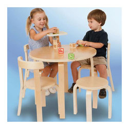 "Svan - Play with Me Kids' 5 Piece Table and Chair Set - Mom or dad can join in on the fun with the Svan Play With Me Toddler Table and Chairs set. Designed to promote child/parent interaction, this set includes a table, three chairs and a stool sturdy enough to hold mom or dad so that they can play along too. Features: -Stool is a great feature as it allows a parent to come down to the child's level for play.-Sturdy pieces are designed for use from generation to generation.-Classic Scandinavian design will fit into any home.-Set offers a durable and family-friendly table for children from two years of age.-Weight for each piece is 250 lbs.-Set includes a table, three chairs and a stool.-Collection: Svan.-Distressed: No.-Powder Coated Finish: No.-Gloss Finish: Yes.-Table Top Material: Wood.-Table Base Material: Wood.-Hand-Painted: No.-Number of Items Included: 5.-Pieces Included: 1 Table, 1 Stool, 3 Chairs.-Non Toxic: Yes.-Weather Resistant: No.-Water Resistant: No.-Table Design: Childrens Furniture.-Table Shape: Round.-Wheels Included: No.-Rounded Corners: Yes.-Table Legs: Yes -Number of Legs: 4.-Leg Material: Wood.-Removable Legs: No.-Leg Glides: No..-Seating Included: Yes -Seating Type: Chairs,Stool.-Number of Chairs Included: 3.-Number of Stools Included: 1.-Attached Seating: No.-Seating Material: Wood.-Seating Cushion Included: No.-Number of Chair Legs: 4.-Removable Chair Legs: No.-Chair Leg Glides: No.-Nested Seating: Yes.-Seating Storage: No..-Table Top Organization: No.-Drawers Included: No.-Shelving Included: No.-Storage Features: No.-Cupholder: No.-Umbrella Included: No.-Chalkboard Included: No.-Whiteboard Included: No.-Easel Included: No.-Collapsible: No.-Minimum Age: 2.-Maximum Age: 7.-Total Seating Capacity: 4.-Outdoor Use: No.-Swatch Available: No.-Commercial Use: No.-Recycled Content: No.-Eco-Friendly: No.-Product Care: Wipe with a damp cloth or sponge and dry thouroughly.Specifications: -ASTM Certified: Yes.-CPSIA or CPSC Compliant: Yes.-EPP Compliant: No.-FSC Certified: No.-Green Guard Certified: No.-SFI Certified: No.Dimensions: -Table Height - Top to Bottom: 20"".-Table Width - Side to Side: 25"".-Table Depth - Front to Back: 25"".-Seating: -Seating Height - Top to Bottom: 11.75"".-Seating Width - Side to Side: 10.25"".-Seating Depth - Front to Back: 10.25"".-Seat Height - Floor to Seat Surface: 11"".-Seat Weight: Stool: 2.95 lbs, Chairs: 4.5 lbs..-Overall Product Weight: 39 lbs.Assembly: -Assembly Required: Yes.-Tools Needed: Allen wrench is needed and included with the hardware.-Additional Parts Required: No.Warranty: -Product Warranty: Two year manufacturer's warranty."