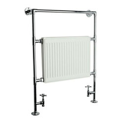 "Hudson Reed - Duchess Chrome & White Hydronic Towel Warmer 37"" x 26"" - Heated Rail With Valves - Quality brass tubing incorporating a flat panel radiator. Ideal for use in the bathroom kitchen cloakrooms etc."
