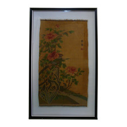 Golden Lotus - Chinese Kesi Tapestry Framed Two Sides Wall Art - This is an old chinese Kesi - Chinese silk tapestry woven in a pictorial design - reframed with wooden frame and transparent plastic cover. It is a collectible piece as well as decoration piece.