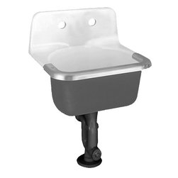American Standard - American Standard 7692.008.020 Lakewell Enameled Cast Iron Service Sink, White - This American Standard 7692.008.020 Lakewell Enameled Cast Iron Service Sink is part of the Lakewell collection, and comes in a beautiful White finish. This wall-mounted service sink features an enameled cast iron material, a glossy porcelain finish, and a stainless steel rim guard. This model comes with 2 holes drilled centered on the back .