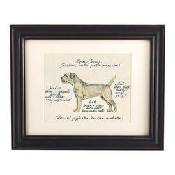 Ballard Designs - Border Terrier Dog Print - Our Border Terrier Dog Print was created by the dog-loving, husband and wife team of Vivienne and Sponge. The Border Terrier is known for being a tenacious hunter and a gentle companion. Each Border Terrier portrait is hand colored and embellished with notes on the breed's special characteristics. Printed on antiqued parchment, signed by the artists and framed in antique black wood with eggshell mat and glass front.Boder Terrier Dog Print features:Hand colored & signed . Printed on parchment. Eggshell mat. Antique black frame