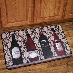 None - Memory Foam Assorted Wine Design Kitchen Floor Mat - The extra strength memory foam kitchen mat is made with Bouncecomfort technology for a relieving and luxurious feeling beneath your feet. The anti-fatigue mat is adorned with an assorted wine design to accent your kitchen floor.