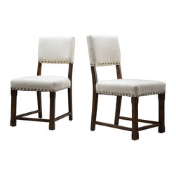 Great Deal Furniture - Aubrey Solid Beige Fabric Dining Chairs (Set of 2) - The Aubrey dining chairs are perfect for any room in your home. These chairs are contemporary in design with a colonial flare. The chairs are upholstered with a beige solid fabric, and is accentuated with the studded detailing and sturdy dark wood frame and legs. These chairs will add a great sense of style to any room you place them in.