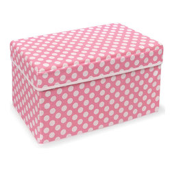 Badger Basket - Pink Polka Dot Double Folding Storage Seat - Pink Polka Dot Double Folding Storage Seat
