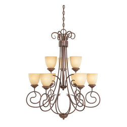 Designers Fountain - Designers Fountain Belaire Traditional Chandelier X-BUA-98399 - Artful scroll arms blend effortlessly with elegant glass shades to create a life style statement of Old World from casual to formal. With 10 ft. of chain.