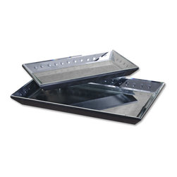 Uttermost - Alanna Mirrored Decorative Trays, Set of 2 - Add dramatic style to your space with these matte black, mirrored display trays. Serve drinks on your patio, display fruit sculptures or even real fruit on your sideboard.