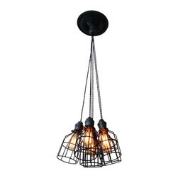 West Ninth Vintage - Industrial Steel Multi-Pendant Lighting - This handmade industrial light is flexible enough to work in a home, retail space, or office. This light uses our custom (real) steel sockets combined with vintage cloth wire to hang the lights. The cages can be removed, if desired, to switch up the look. The bottom of the cage is open to allow for easy bulb changes.This light comes standard with 3' of cord for each pendant light and you can adjust/ shorten the total length to your desired needs.