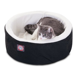 """MAJESTIC PET PRODUCTS - Cat Cuddler Pet Bed, Black, 16"""" - Our Small Cat Cuddler Pet Bed from Majestic Pet Products is the perfect place for your feline friend to curl up for a nap in perfect comfort. The machine washable cover has a sturdy Poly/Cotton Twill shell with a lush sherpa inner lining, and covers a cushion of super soft orthopedic grade foam."""