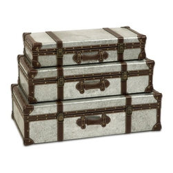 """IMAX - Theodric Galvanized Trunks - Set of 3 - Galvanized metal trunks make a great storage option and add an industrial style that looks great with a variety of decor. Item Dimensions: (5-6.25-7.75""""h x 22.5-25-27.25""""w x 11-13-15.5"""")"""