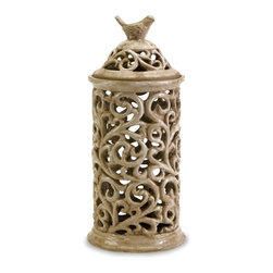 IMAX CORPORATION - Medium Vivienne Cutwork Lidded Jar - A dainty bird rests upon the lid of this lovely cutwork ceramic jar. For a coordinated look purchase all three sizes. Find home furnishings, decor, and accessories from Posh Urban Furnishings. Beautiful, stylish furniture and decor that will brighten your home instantly. Shop modern, traditional, vintage, and world designs.