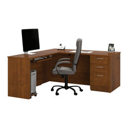 Bestar - Bestar Embassy L-shaped Workstation with Assembled Pedestal in Tuscany Brown - Bestar - Executive Desks - 6087363 - Warm and elegant the Embassy Collection stands out with its versatility. From executive groups to computer work centers Embassy is the answer. Stylish moldings thermofused melamine finish and designer handles are some of the great features offered in this stunning collection by Bestar. This traditional modular collection offers numerous configuration for various use.