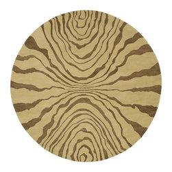 Surya - Studio SR113 8' Round Rug with Zebra Stripe Pattern - Take your home's decor for an exotic walk on the wild side with this round animal print rug, finished in a warm color palette of beige and caramel. Hand tufted for durability, the rug is made of New Zealand wool and will easily complement any globally inspired decor. Hand-tufted. Made in India. 100% New Zealand Wool