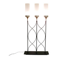 Global Views - Top Hat Lighted Room Divider - Three light divider has frosted glass shades and criss cross iron decorative detail. Takes three 60 watt bulbs.