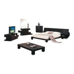Global Furniture USA - Soho Wenge Veneer Queen Five Piece Bedroom Set - The elegant Soho Platform Bedroom Set by features an exclusive contemporary design that works with any decor. The set comes in an attractive wenge Finish with slight Distressing. Every piece is gorgeous with its geometrical shapes and sleek design. This platform bed is able to support a mattress without the use of a box spring, although can accommodate one if desired. The bed features a large, uniquely designed headboard with a nightstand on both ends. Featuring handy built-in lights under flip-up front panels. Each nightstand provides plenty of space for reading materials on one wood shelf and one frosted-glass shelf. The dresser is defined by Wenge finish, 6 drawers for ample storage and an original brick shape. The mirror will undoubtedly give your bedroom the clean lines and dramatic flair you have been searching for. The bedroom set shown includes a queen size bed, two nightstands, a dresser, and mirror.
