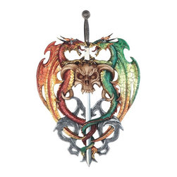GSC - 17.5 Inch Dragons Wrapped Around Skull Sword Wall Plaque - This gorgeous 17.5 Inch Dragons Wrapped Around Skull Sword Wall Plaque has the finest details and highest quality you will find anywhere! 17.5 Inch Dragons Wrapped Around Skull Sword Wall Plaque is truly remarkable.