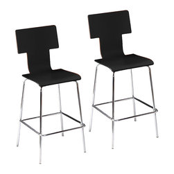 Tebrack Barstools, Set of 2 Black - This pair of Tebrack barstools are a modern and playful accent in the home. Whether pulled up to the bar or as occasional seating when entertaining, these barstools are comfortable and stylish with a T-back and waterfall seat edge. The bentwood seat is available in your choice of sleek black or warm espresso and each features a chrome metal base for structure and stability. Unwind at the bar after a long day or treat your guest to a comfortable, stylish seat with these modern barstools.