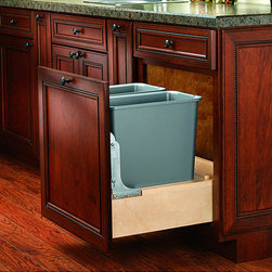 None - Pull-out 30-quart Double Waste Container - Keep trash contained and out of sight with this silver pullout waste container. The 30-quart size of this container and unique design allows you to make the most of your storage space. Easy installation provides even more convenience.