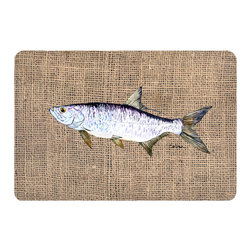 Caroline's Treasures - Fish - Tarpon Kitchen or Bath Mat 20 x 30 - Kitchen or Bath Comfort Floor Mat This mat is 20 inch by 30 inch. Comfort Mat / Carpet / Rug that is Made and Printed in the USA. A foam cushion is attached to the bottom of the mat for comfort when standing. The mat has been permanently dyed for moderate traffic. Durable and fade resistant. The back of the mat is rubber backed to keep the mat from slipping on a smooth floor. Use pressure and water from garden hose or power washer to clean the mat. Vacuuming only with the hard wood floor setting, as to not pull up the knap of the felt. Avoid soap or cleaner that produces suds when cleaning. It will be difficult to get the suds out of the mat.