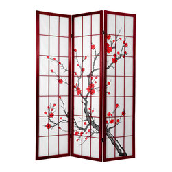 Oriental Furniture - 6 ft. Tall Cherry Blossom Shoji Screen Rosewood - This handsome room divider is constructed from Scandinavian spruce and shoji rice paper adorned with a blossoming cherry tree, the age-old symbol of Japan. Renowned for its translucent glow in the sunlight, Shoji paper has been a beloved part of Japan's remarkable architecture for over a thousand years. This elegant folding screen is designed for the modern home, and is a perfect way to partition a space, add privacy, or bring a decorative accent to a room.