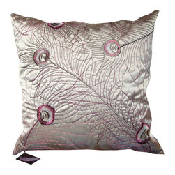 "Silk Peacock Feather Embroidered Down Pillow 18"" x 18"" - This ethereal silk pillow has it all: glamour, shine and comfort. Metallic silver thread adorns the embroidered front and an invisible zipper runs along the bottom seam, hiding a down feather insert. The back is solid silver. This pillow is new with tags and has never been used."