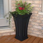 Mayne Inc. - Cambridge Tall Curved Planter - Features: -Planter.-Material: High-grade polyethylene.-Blend of modern and traditional design.-Curved shape creates a unique and classy look providing.-Single wall molded design.-Self watering tray insert creates sub-irrigation water system and encourages root growth.-Approximately 8 gallon soil capacity.-Beautiful accent to the entrance of any home.-Indoor Use: Yes.-Product Care: May need power washing and possible light scrubbing with mild detergent to maintain a bright, clean finish.-Drainage Holes: Yes.-Recommended Plant Type: Flowers.-Insect Resistant: Yes.-Water Resistant: Yes.-Warp Resistant: Yes.-Rot Resistant: Yes.-Crack Proof: Yes.-Fade Resistant: Yes.-Anti-Shock: Yes.-Liner: No.-Wall Design: Double.-Mounting Brackets Included: No.-Handles: No.-Handmade: No.-Hand- painted: No.-Illuminated: No.-Distressed: No.-Collection: Cambridge Tall.-Recycled Content: 0%.-Eco-Friendly: Yes.-Country of Manufacture: United States.Dimensions: -Assembled Weight: 10.5 lbs.Assembly: -Assembly Type: No Assembly Required.Warranty: -15 Year limited.-Product Warranty: 15 year limited.