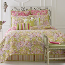 Dena Home - Dena Home Moroccan Garden Quilt - This hand-crafted, reversible quilt has an exotic print with vibrant colors to give your bed a fresh and fun look. The pink and green quilt features outline quilting and a pleated ruffle border.