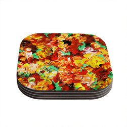 "Kess InHouse - Ebi Emporium ""Floral Fantasy II"" Orange Yellow Coasters (Set of 4) - Now you can drink in style with this KESS InHouse coaster set. This set of 4 coasters are made from a durable compressed wood material to endure daily use with a printed gloss seal that protects the artwork so you don't have to worry about your drink sweating and ruining the art. Give your guests something to ooo and ahhh over every time they pick up their drink. Perfect for gifts, weddings, showers, birthdays and just around the house, these KESS InHouse coasters will be the talk of any and all cocktail parties you throw."