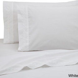 None - WestPoint Home Cotton Blend Embroidered Sheet Set - Sleep in luxurious comfort with this embroidered sheet set by WestPoint Home on your bed. These tonal embroidered-hem sheets feature a soft 300-thread count and are made from a cotton-polyester blend that ensures caring for them is a breeze.