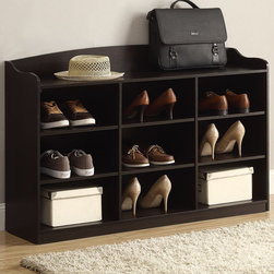 Coaster - Shoe Storage Rack, Cappuccino - Function meets style. This shoe cabinet is great for an entryway or bedroom, featuring 9 compartments and a top shelf. This piece has clean lines, plenty of storage space and a cappuccino finish. Organize your shoes, hold your books or display your favorite collectibles on this versatile storage piece.