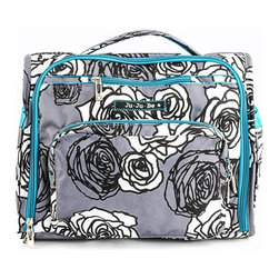 Ju Ju Be - Ju Ju Be BFF Diaper Bag - Charcoal Roses - 09FM02A-CHR - Shop for Diaper and Bottle Bags from Hayneedle.com! Being a mom doesn't mean you have to sacrifice your love of style or organization and the Ju Ju Be BFF Diaper Bag - Charcoal Roses allows you to maintain both. You'll fall in love with its versatile design which allows this bag to be carried as a tote messenger bag or backpack. Crafted from stain resistant Teflon this bag features a waterproof satin liner that's treated with AgION for antimicrobial protection which kills germs mold mildew fungus bacterial and more. Changing your baby on-the-go is simple with the included memory foam changing pad which not only supports your baby but is also covered in a soft quilted fabric that also has antimicrobial treatment. Designed with busy moms in mind this stylish bag features a front pocket two bottle octets insulated with Thinsulate to keep your baby's bottle hot or cold for three hours and a cell phone pocket. Inside its spacious interior you'll find four gusseted pockets as well as three zippered pockets. The back pocket is ideal for diapers and wipes so they're always in easy reach. It also features a crumb drain so you can easily clear your diaper bag of crumbs and help it to stay clean. Machine washable you'll also be able to toss this bag in the wash to help keep it looking like new. With the Ju Ju Be BFF Diaper Bag you don't have to sacrifice any space or functionality for style. There are plenty of pockets and compartments to help you stay organized. Additional Features Interior has 4 gusseted pockets 3 zippered pockets Includes memory foam changing pad Interior made from waterproof satin AgION treated interior for antimicrobial protection Kills germs mold mildew fungus bacteria and more Changing pad covered in soft quilted fabric Changing pad cover features antimicrobial treatment Memory foam pad evenly supports baby Gusseted sides prevents items from falling out Features 2 picture pockets on the